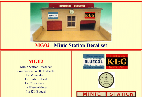 MG02 Tri-ang ( Triang ) Minic Station Decal set